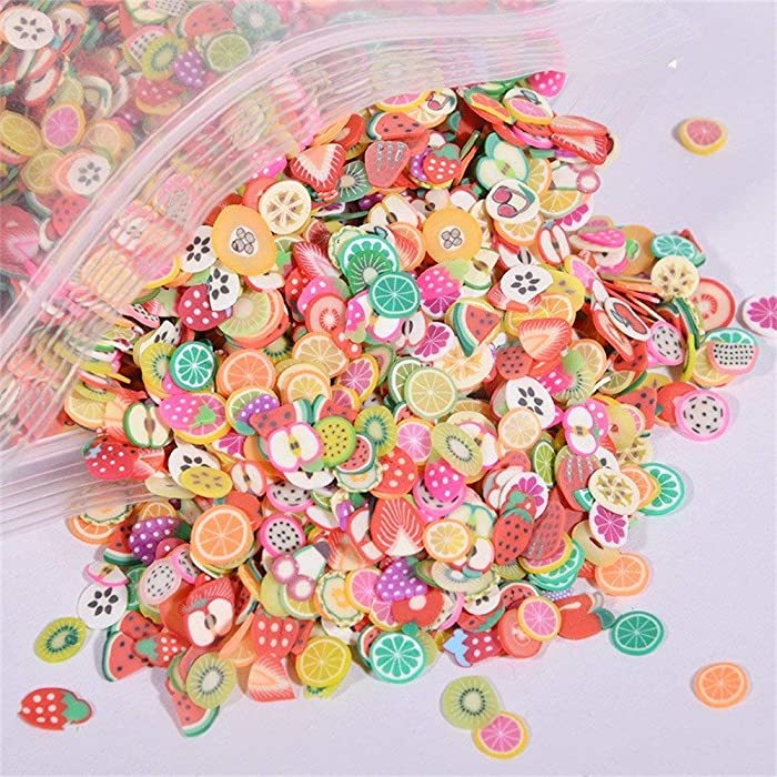 IGIYI Tiny Fruit Slime Charms Cute Set, 10000pcs Charms for Slime Assorted Fruits Apple Banana Strawberry Blueberry Watermelon Melon and More for Craft Making, Ornament Scrapbooking DIY Crafts