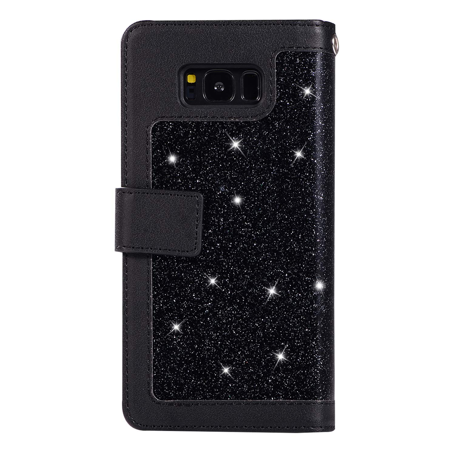 Shinyzone Glitter PU Case for Samsung Galaxy S8,Wallet Leather Flip Case with Zipper Pocket,Bling Cover with 9 Card Holder and Wrist Strap Magnetic Stand Function,Black by Shinyzone (Image #3)
