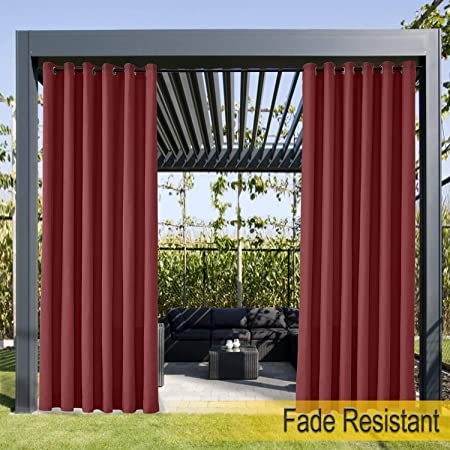 1 Panel Gazebo Outdoor Curtain Grommet Eyelet Grey 84 W x 96 L For Front Porch and Beach Home Dock Covered Patio Pergola . Cabana