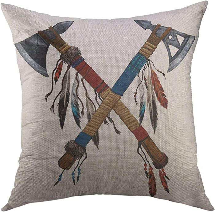 ZHONGH Two Crossed Tomahawks Feathers Beads Indian National Weapon Native American Ax Decorated Home Decor Throw Pillow Cover Couch Sofa Decorative Blend Linen Pillowcase 18x18 Inch
