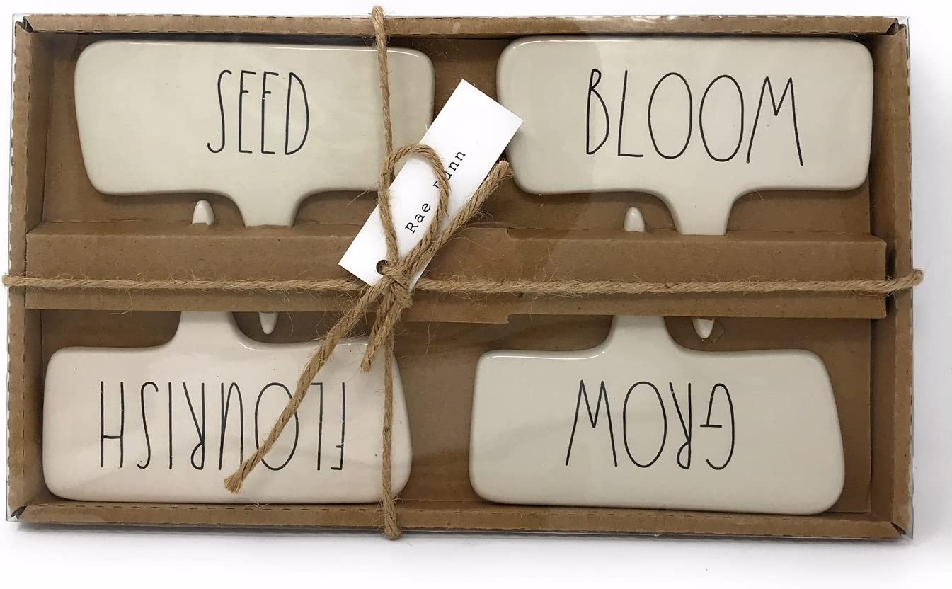 Rae Dunn Plant Markers Stakes- Grow, Flourish, Seed, Bloom
