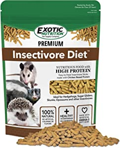 Premium Insectivore Diet - Healthy Nutritious Chicken Based High Protein Pellet Diet - for Sugar Gliders, Hedgehogs, Opossums, Skunks & Other Insectivores