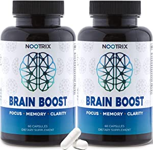 (2-Pack) Brain Boost by Nootrix - Premium Nootropic Supplement - Improves Cognitive Function & Memory, Enhances Focus, Boosts Concentration & Provides Clarity for Men and Woman