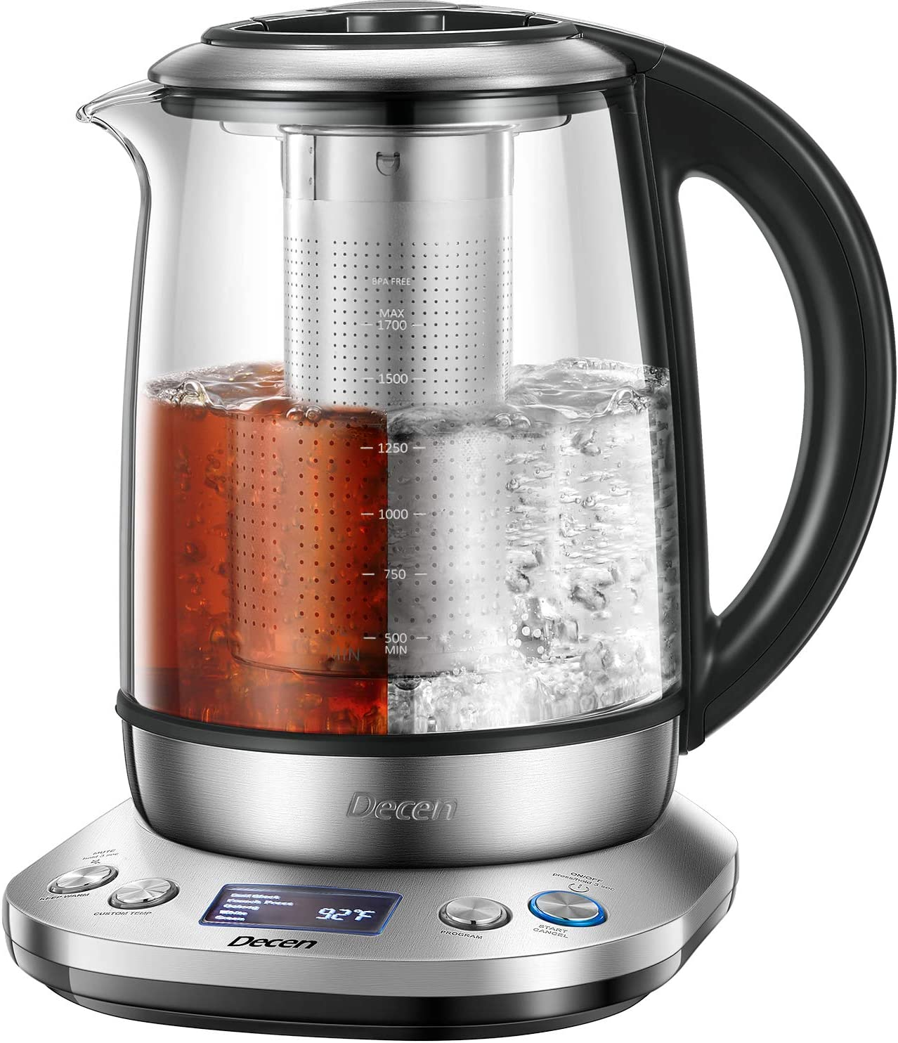 Electric Kettle 1.7L Tea Kettle with Removable Tea Infuser, LCD Display Stainless Steel Glass Boiler Hot Water Tea Heater, 120 Mins Keep Warm & Variable Temperature, 1200W