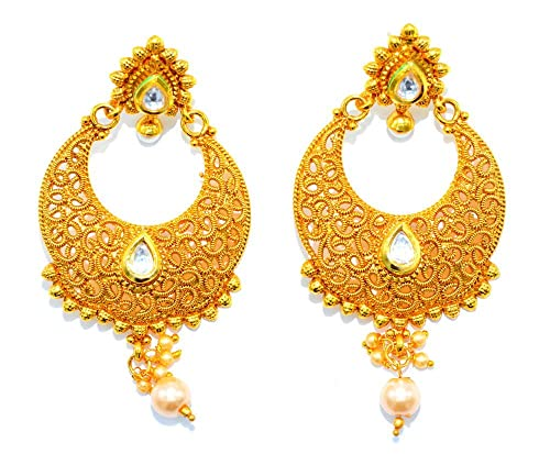 bc452d4eb5c4 bollywood pendientes de Golden Traditional with Diamond and Pearl for Women