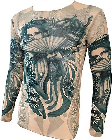 OMAS Japanese Geisha Tattoo Camiseta Deportiva Tattoo Top Biker Biking Fitness: Amazon.es: Ropa y accesorios