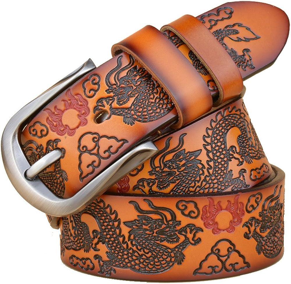 Shindn Mens Dragon Design Leather Reversible Belt Gift