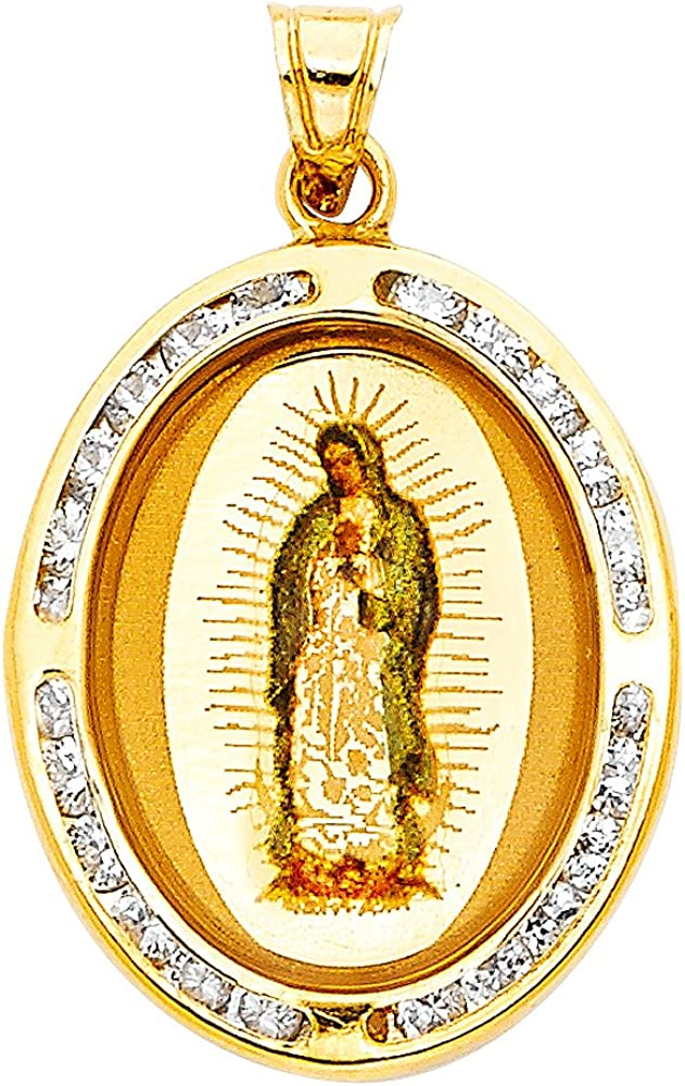 with 18 Rolo Chain 20mm x 17mm Accented with Channel Set White CZ Stones 14k Yellow Gold Virgen De Guadalupe Picture Charm Pendant