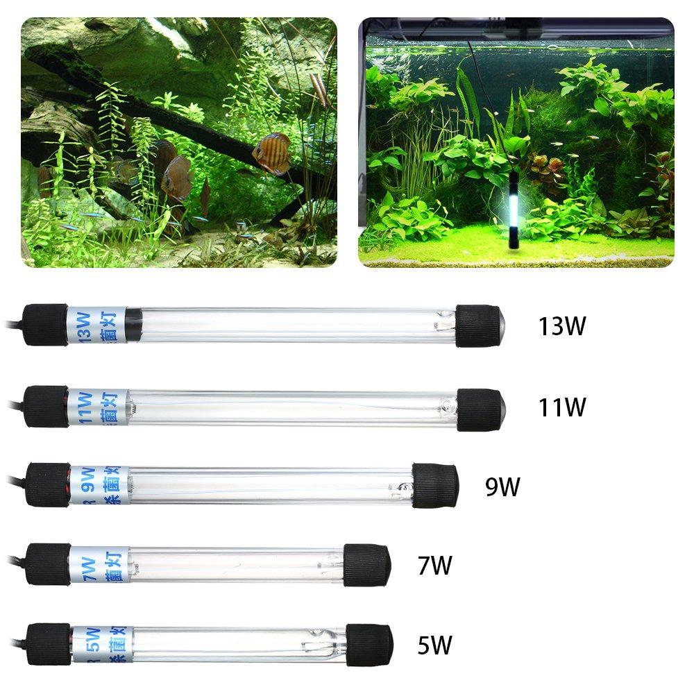 Decdeal Luz Ultravioleta Lámpara de Esterilización Sumergible Desinfección del Agua para el Estanque de Acuario AC220-240V 5/7/9/11/13W: Amazon.es: ...