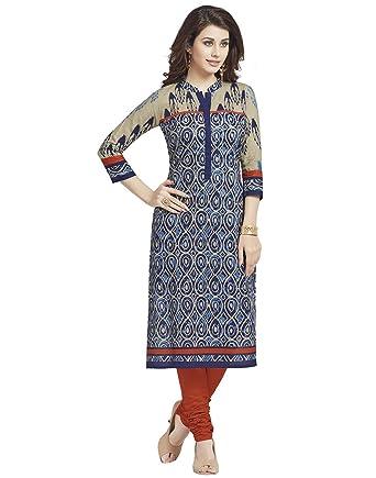 Jevi Prints Women's Cotton Dress Material (Saheli-1206_Free Size_Blue) Dress Material at amazon