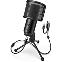 FIFINE USB Desktop PC Microphone with Pop Filter for Computer and Mac, Studio Condenser Mic with Gain Control Mute…