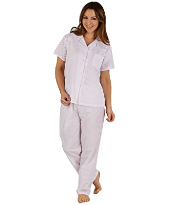 Ladies Slenderella Seersucker Stripe Pajamas Button Up Top PJs (Blue or  Pink) at Amazon Women s Clothing store  0137f62f6