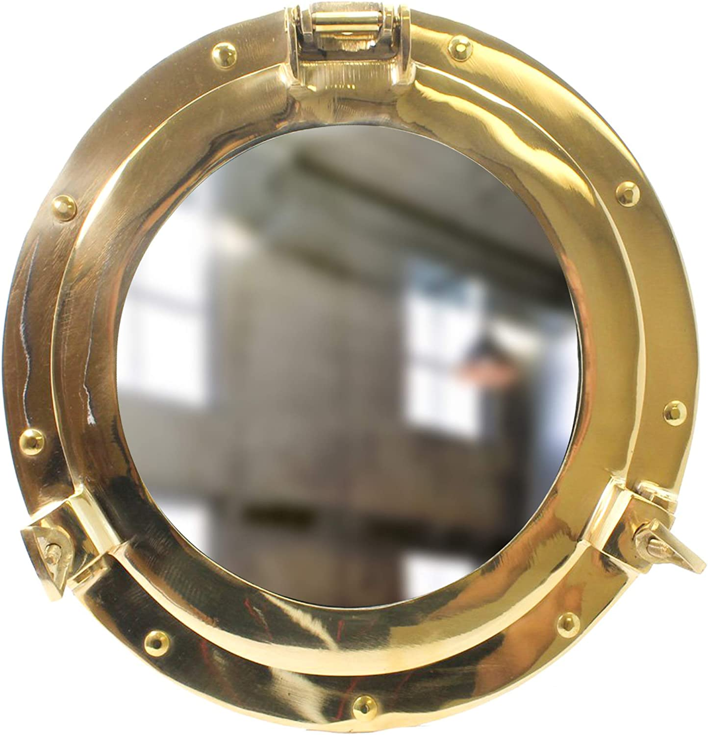 "11"" Brass Porthole with Glass - Shiny Finish - Boat Window Nautical Ship Décor - Maritime Fan Gift"