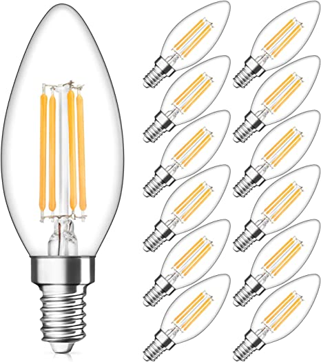 Amazon Com Dimmable E12 Candelabra Led Bulbs 40w Equivalent 2700k Warm White 4w Filament Led Chandelier Light Bulbs B11 Vintage Edison Clear Candle Lamp With Decorative Candelabra Base Pack Of 12 Home Improvement