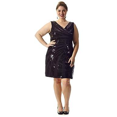 58bf6db15a60 Amazon.com: Plus Size Sequin Little Black Party Dress 20 Black: Clothing