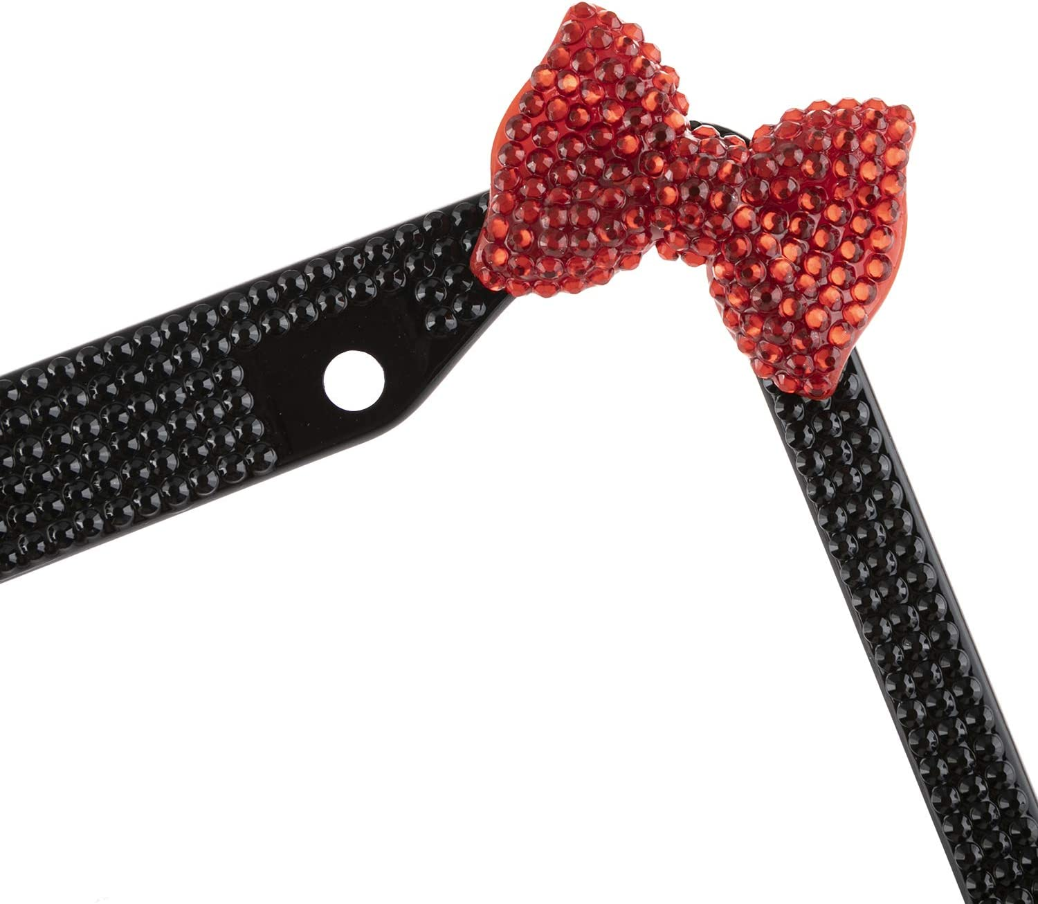 Fashion Purely Handmade Black Frame W//Red Bowknot Bling Crystal License Plate Frame Luxury Rhinestone Premium Stainless Steel Car//Truck//SUV License Plate Holder for Women,Lady,Girls 1 Frame