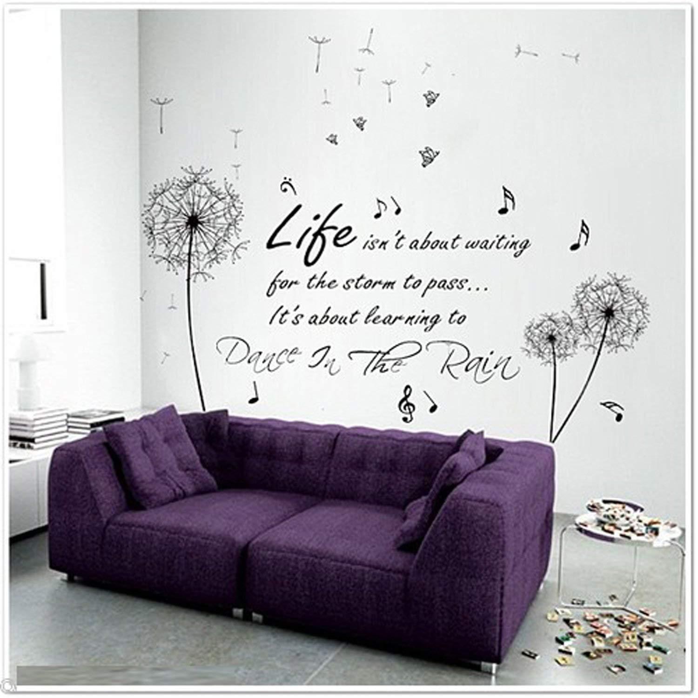 Walplus COM-black dandelion WS6016 color negro Producto para casa Dance In Rain FR-WIQF-MQTH