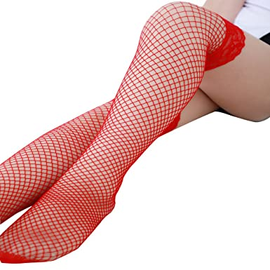 fc4e2681448a4a BaoDan Fashion Sexy Lingerie Woman Ladies Lace Fishnet Thigh High Stockings  (Free Size, Red): Amazon.co.uk: Clothing