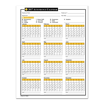 Amazon.com : 2017 Attendance Calendar - 50 Sheets/Package - On ...