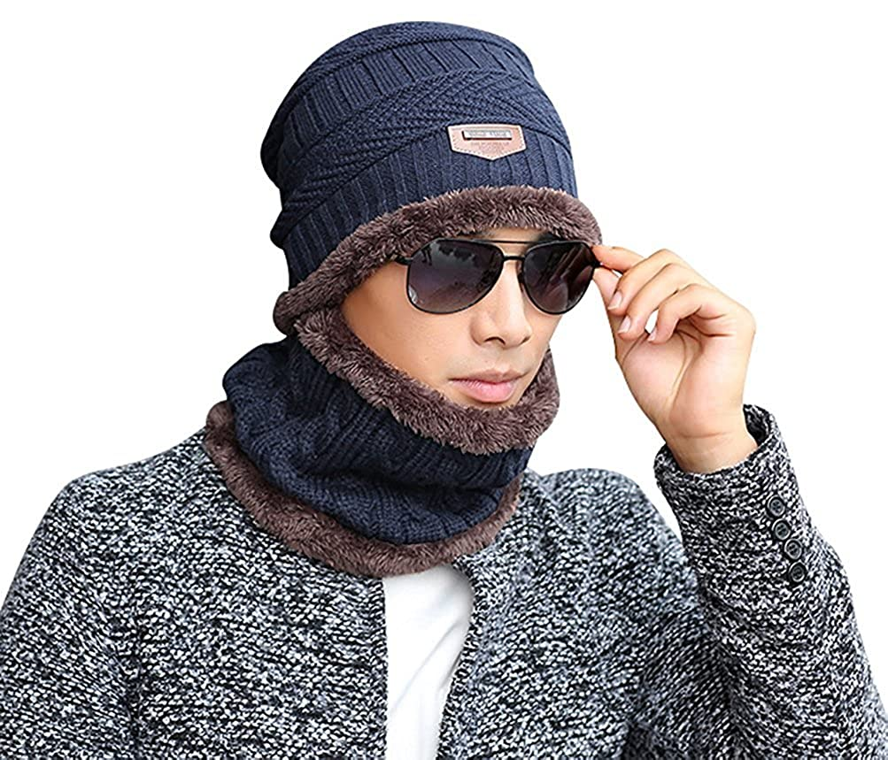 c5bb9e26202 Gellwhu Men Winter Slouchy Beanie Hat Scarf Set Women Lined Thick Knit  Skull Cap