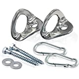 Indoor Hammock Hanging Kit-Perfect Hammock Accessories - Supports 400Lbs –Includes Hammock Hooks, Carabineers, and Lag Bolts for Hanging Your Hammock Indoors or Any Where (Stainless Steel Anchors)