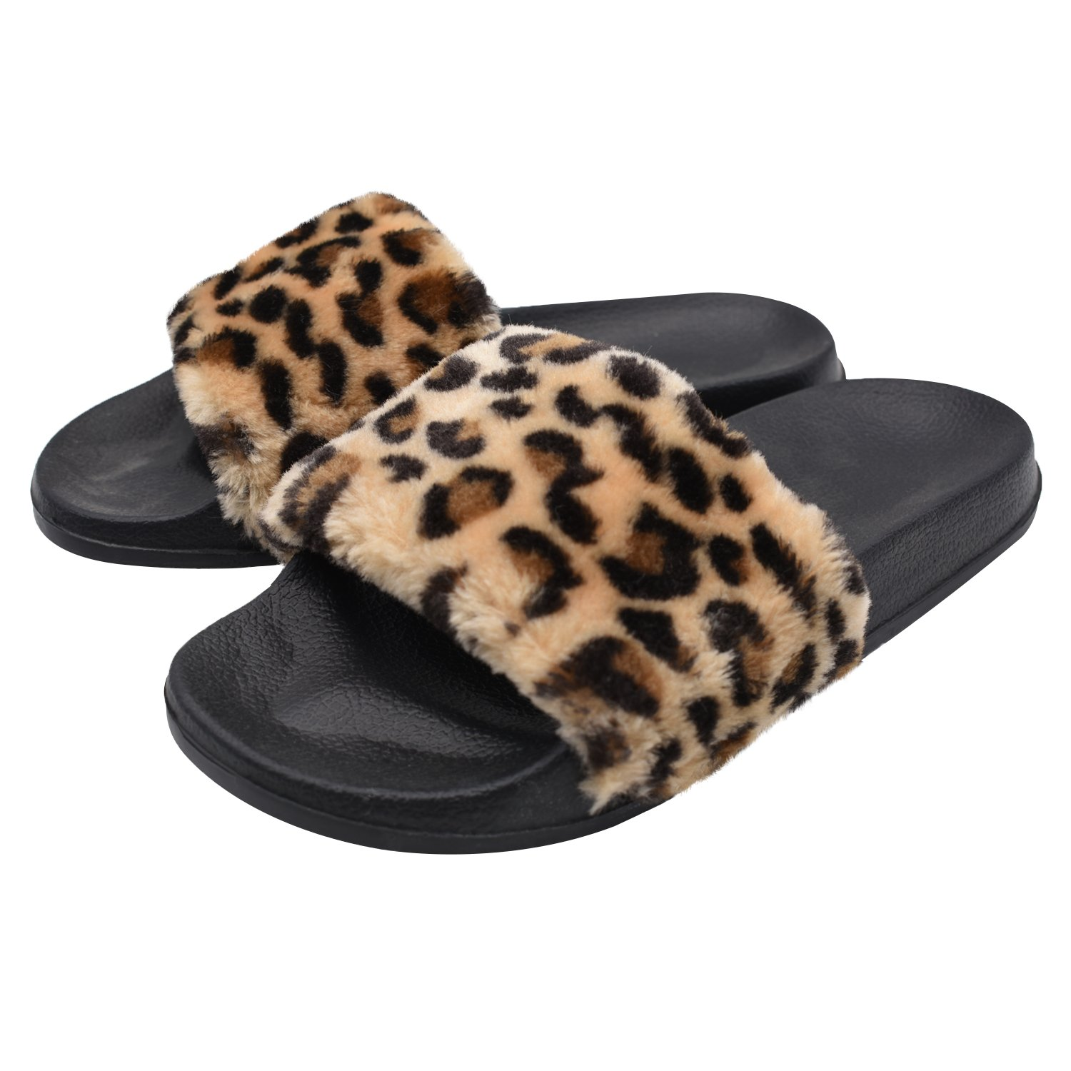 SunbowStar Women's Slippers Soft Slide Flat EVA Sandals with Fluffy Faux Fur