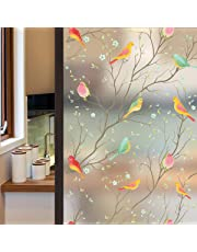 Lifetree Frosted Privacy Glass Film Stained Glass Window Film Static Cling Bird Window Stickers