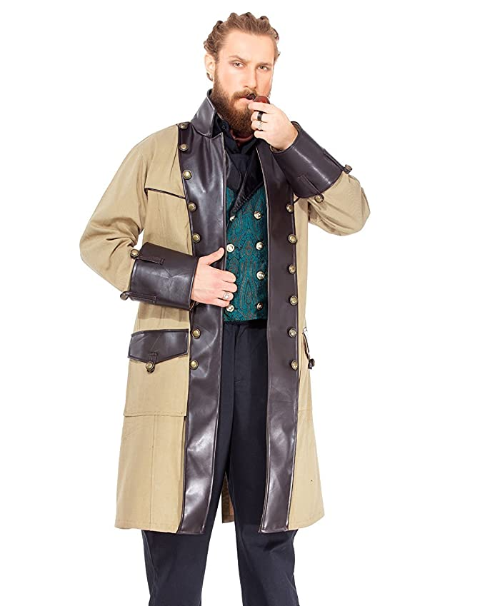 Men's Steampunk Clothing, Costumes, Fashion ThePirateDressing Steampunk Gothic Victorian Chrononaut Cream Coat Costume [C1406] $74.95 AT vintagedancer.com
