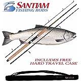 "Santiam Fishing Rods Travel Rod 3 Piece 8'6"" 12-30LB MH Graphite Spinning Rod w/Hard Case"