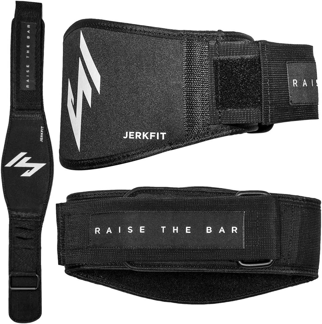 JerkFit RTB Premium Weightlifting Belt-Olympic Lifting Comfortable Full Back Support-for Deadlifts, Back Squats, Thrusters-Lightweight Flexible Belt for Men Women
