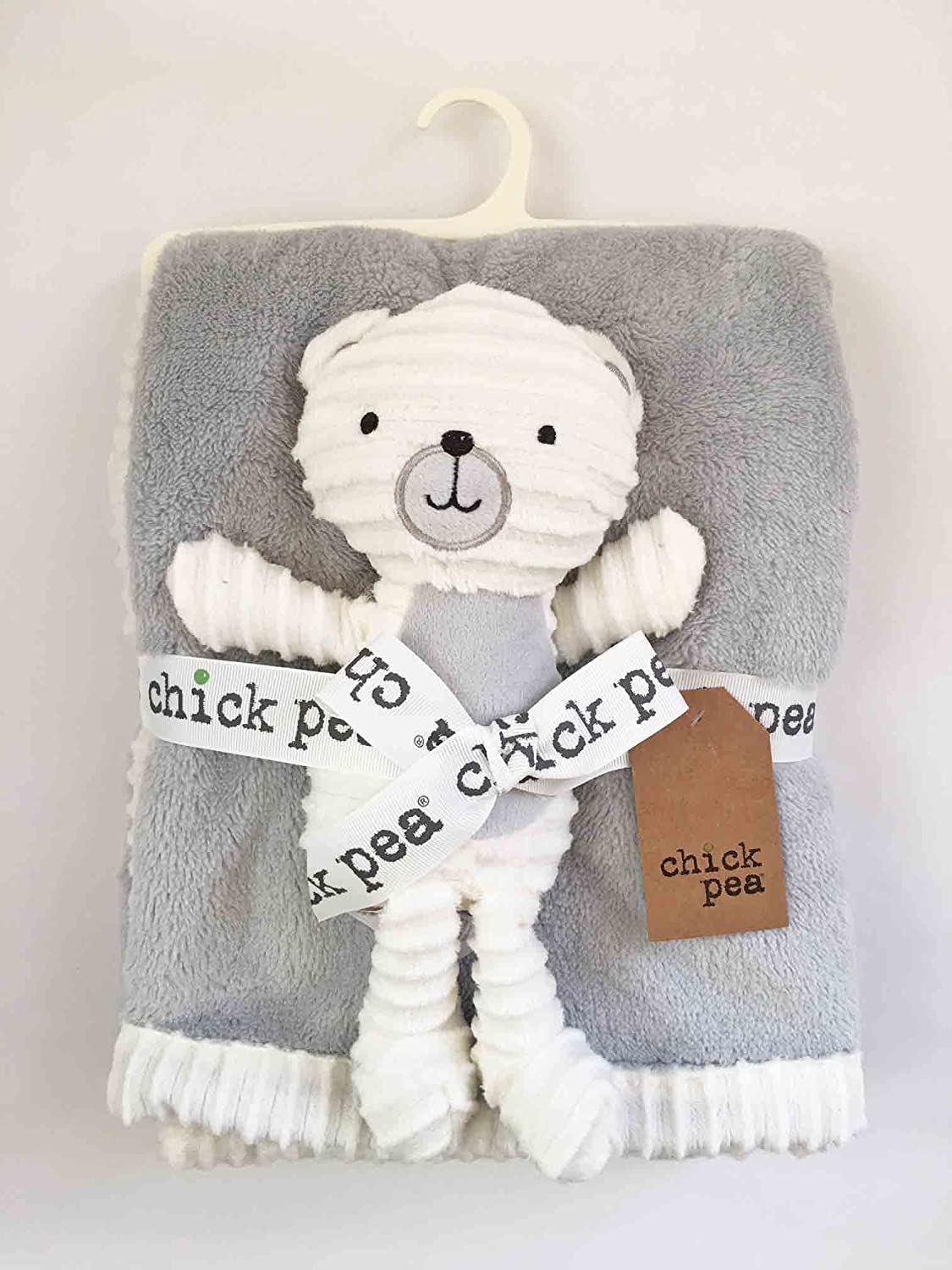 Chick Pea White and Gray Baby Security Blanket 2Pc Set Cutie pie inc Fc2345