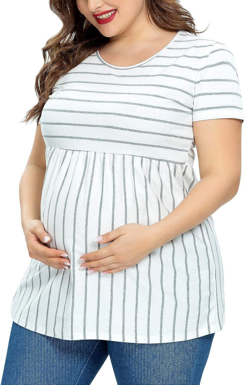 Jezero Womens Maternity Tops Plus Sizes Regular Short Sleeve Side Ruching Round Neck Shirt