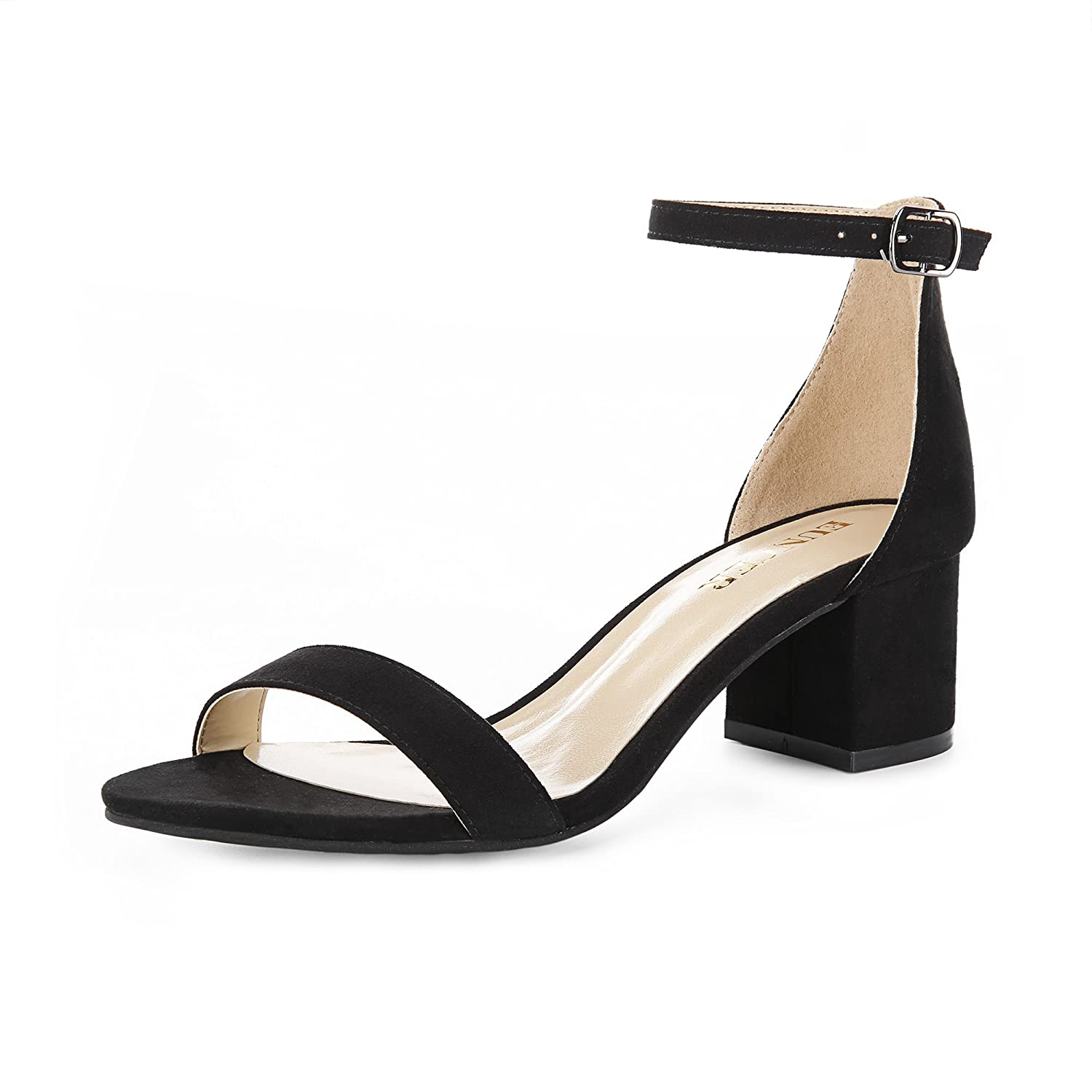 0374f9031e Amazon.com | Eunicer Women's Single Band Classic Chunky Block Low Heel  Sandals with Ankle Strap Dress Shoes, Black Suede, 5.5 B(M) US | Heeled  Sandals