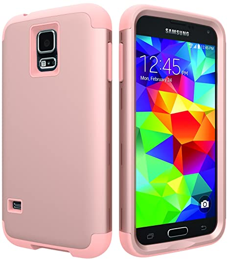 super popular f62b0 79bb8 Galaxy S5 Case, S5 Case,SLMY(TM) [ Shock Resistant Series ] Hybrid Rubber  Case Cover for Samsung Galaxy S5 3 in1 Hard Plastic +Soft Silicone Rose Gold