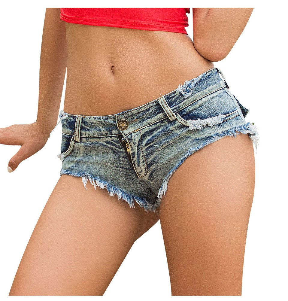 Soojun Women's Sexy Cut Off Low Waist Booty Denim Jeans Shorts, Denim Blue, US 0