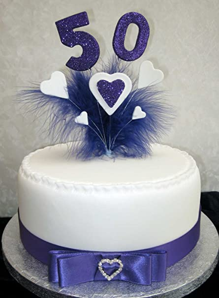 50th Birthday Anniversary Cake Topper With Purple Glittered Numbers And Marabou Feathers Hearts