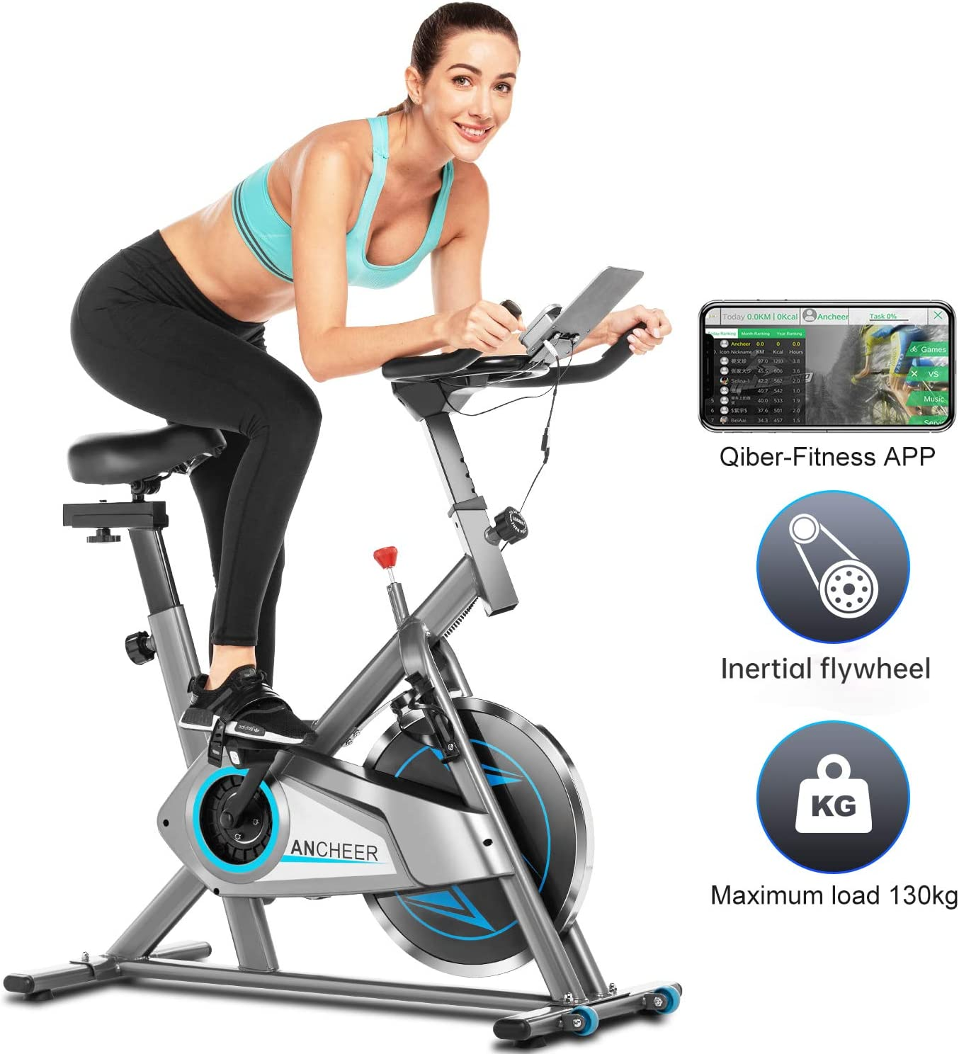 Ancheer Bicicleta Estática de Spinning Bicicleta Interior Volante 10kg, Pantalla LCD, Sillín Ajustable, Máximo Usuario130 kg (Plateado): Amazon.es: Deportes y aire libre