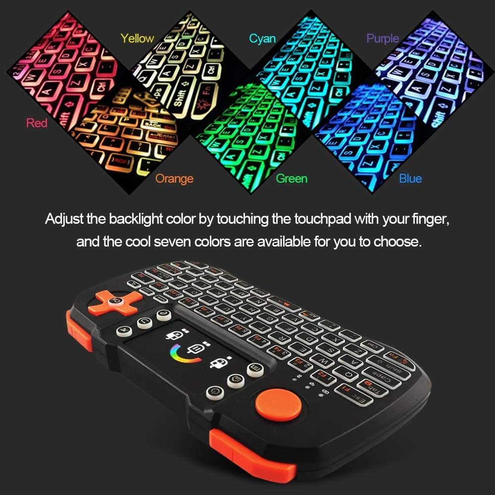 Calvas TZ10 2.4GHz Wireless Keyboard Touchpad Mouse Handheld Remote Control with Colorful Backlight for TV Box Smart TV PC Laptop Color: with Li-ion battery