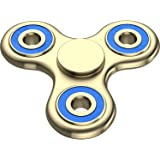 The Anti-Anxiety 360 Spinner Helps Focusing Fidget Toy [3D Figit] Tri-Spinner EDC Focus Toy for Kids & Adults - Best Stress Reducer Relieves ADHD Anxiety Boredom Metal Bearing (Gold Blue)
