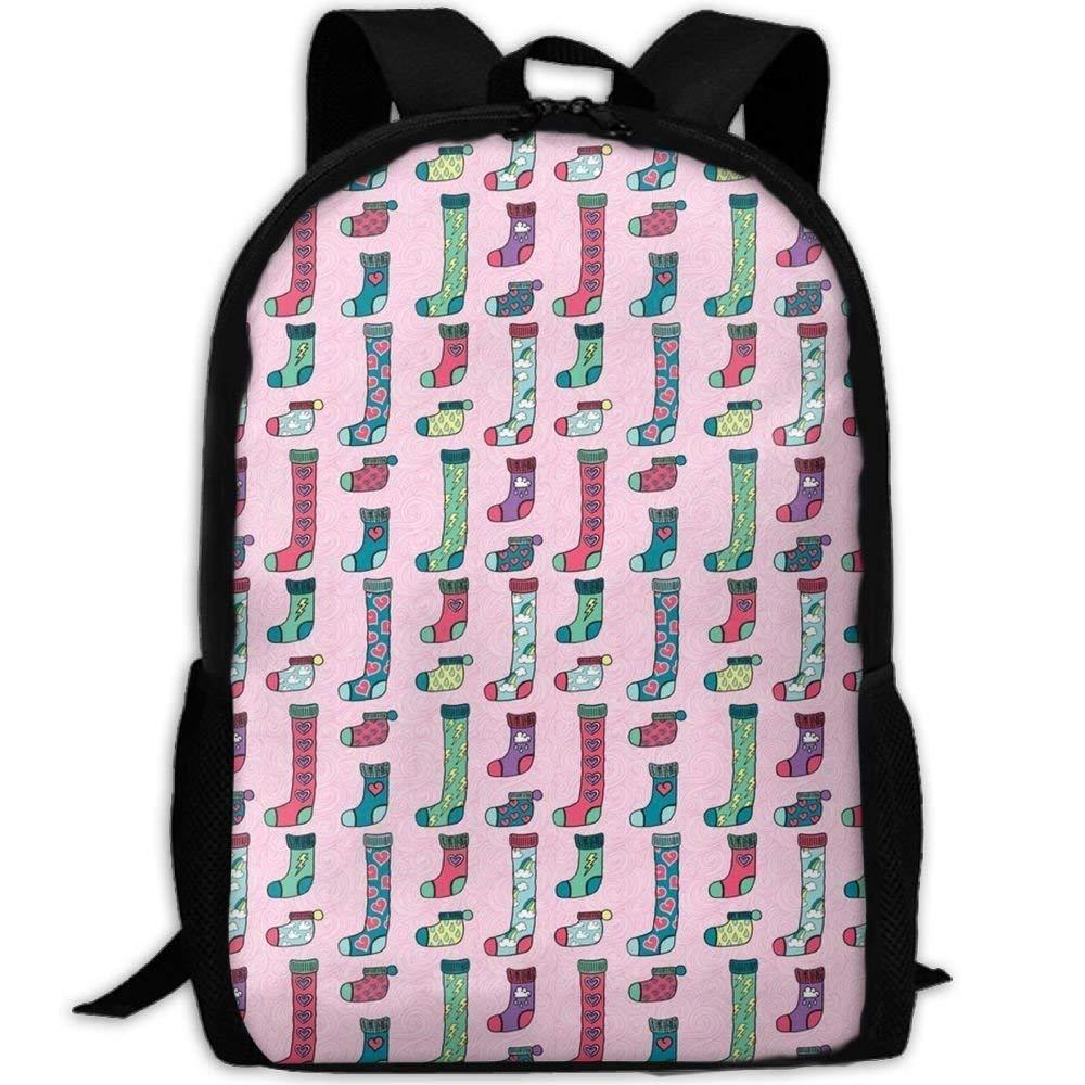 Socks And Hearts In Pink School Rucksack College Bookbag Unisex Travel Backpack Laptop Bag