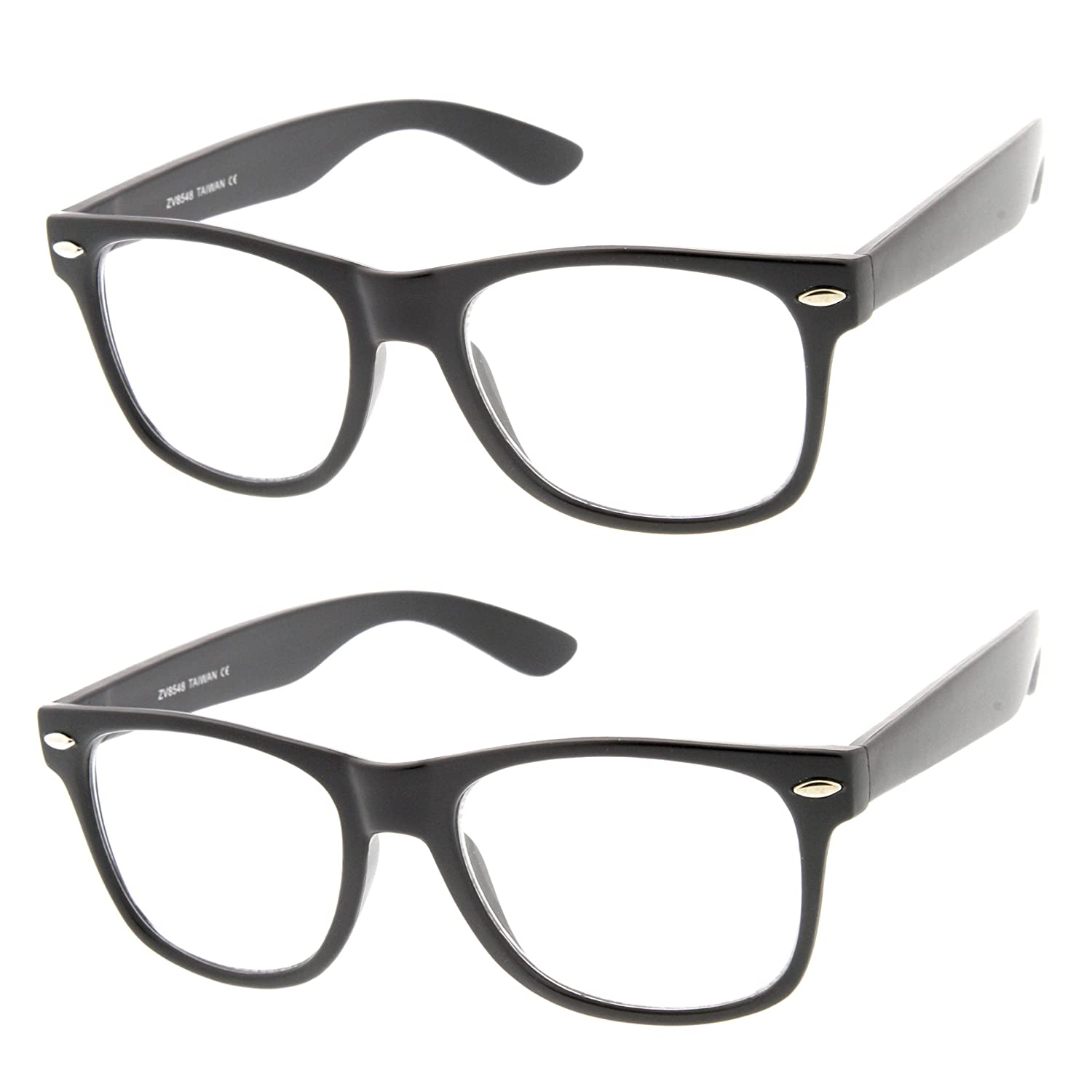 5e0a35b8c82e Amazon.com  Flat Matte Classic Geek Nerd Glasses Horn Rimmed Eyeglasses  UV400 Clear Lens (2-Pack)  Shoes