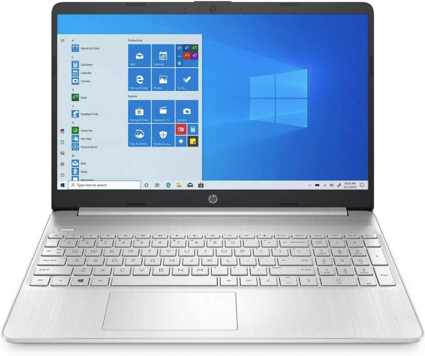 HP Premium 15-Inch HD 256GB SSD 2.4GHz AMD Athlon Gold Processor Non Touch Laptop (4GB RAM, AMD Radeon Graphics, Webcam, USB-C, HDMI, SD Card Reader, Windows 10 Home S) Natural Silver, 15-ef1040nr