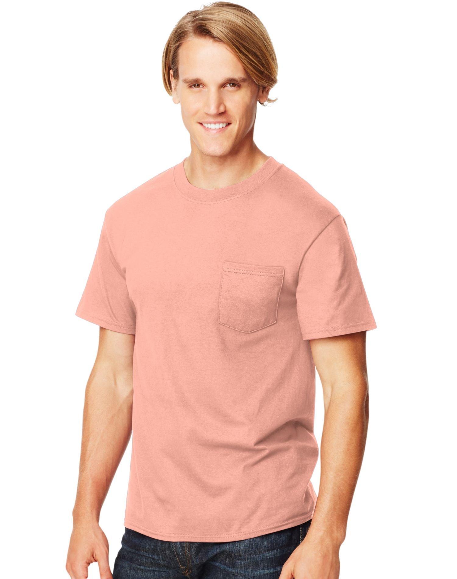 Hanes Beefy-T Adult Pocket T-Shirt, Candy Orange, M US (Chest 38-40)