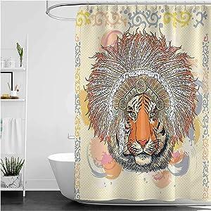 Interestlee Tribal Modern Shower Curtain Safari Tiger Portrait with Native American Chef Feathers Bohemian Design Grommets Curtain for Bath Showers Bathtub Orange Peach 60