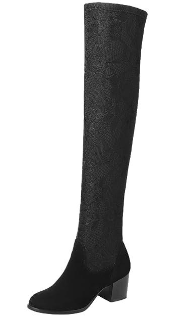Unbekannt Overknee Stiefel Damen Spitzen Mesh Elastische Block Oberschenkel Stiefel von Bigtree Schwarz 43 EU JdEIG
