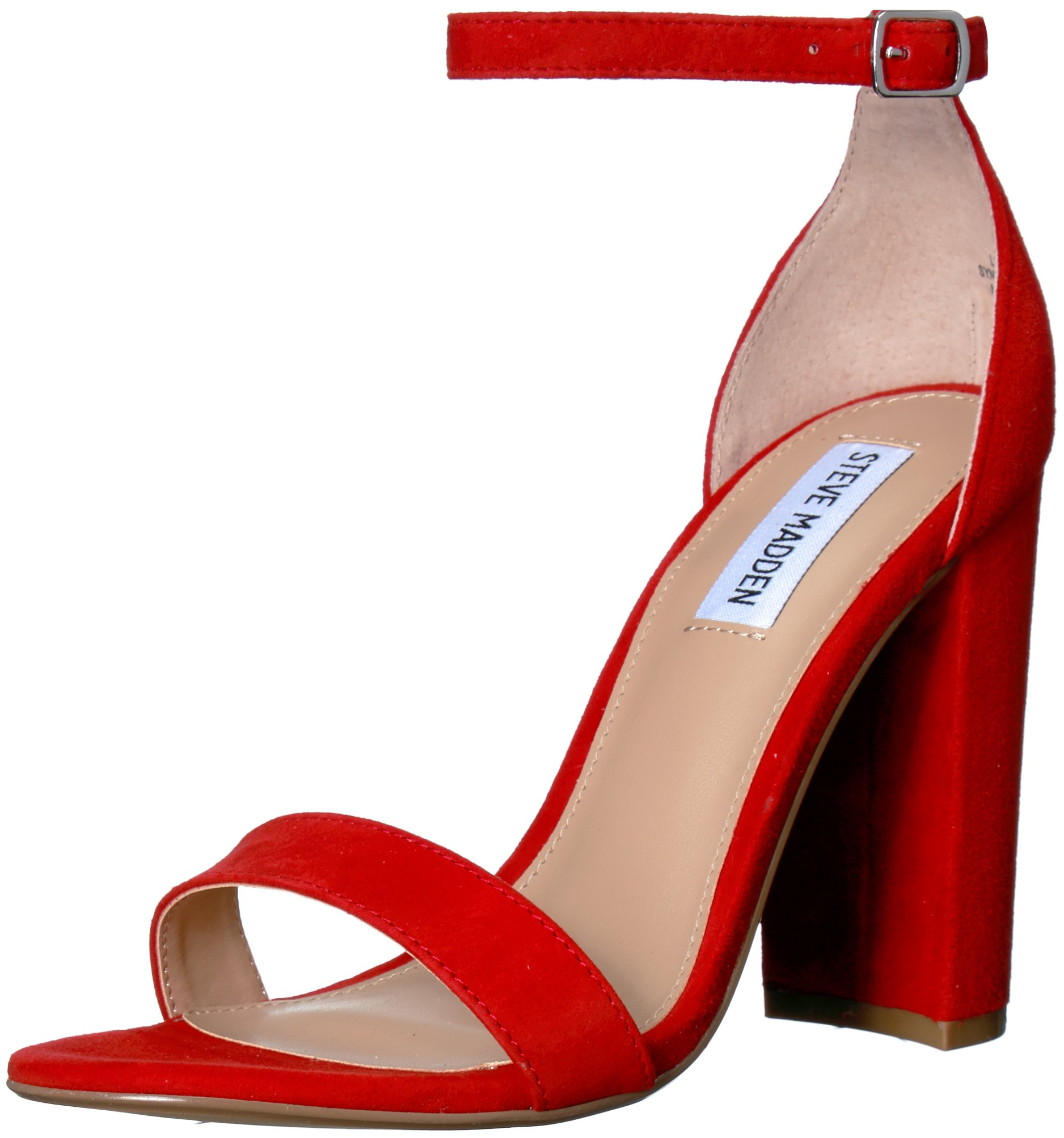 Steve Madden Women's Carrson Heeled Sandal, red Suede, 10 M US by Steve Madden
