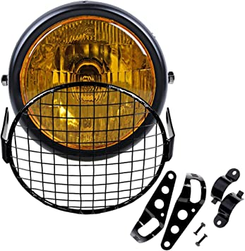 """6.5/"""" Retro Amber Vintage Motorcycle Side Mount Headlight Cafe Racer Grill Cover"""