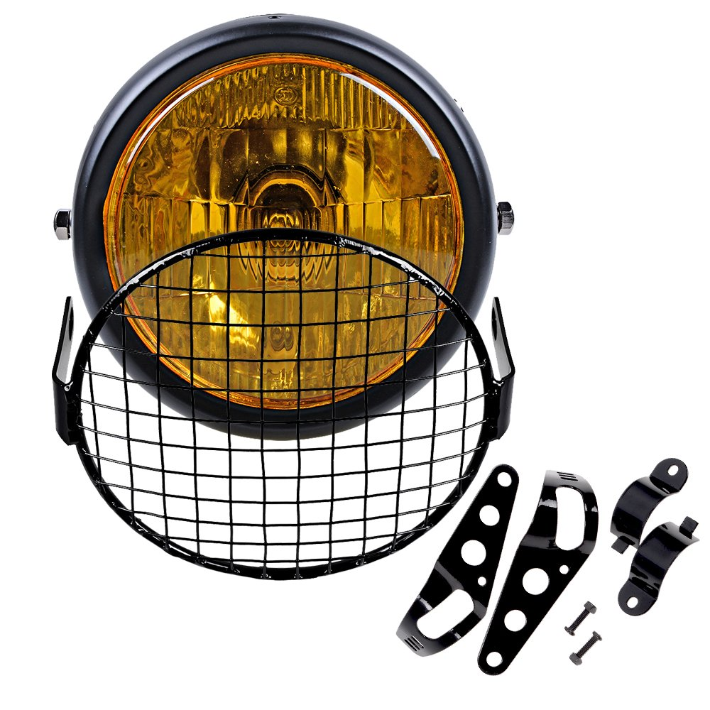 "6.5"" Amber Motorcycle Retro Headlight Assembly + Mount Bracket + Metal Mesh Grille Cover Cafe Bobber Racer Headlight Assemblies"