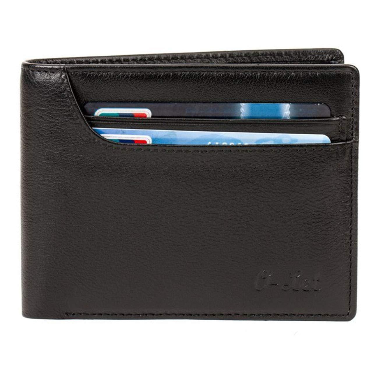O-LET RFID Geldbörse Herren aus echtem leder portmonee herren klein Minimalistisch Geldbeutel Männer 11 Kartenfächer und 2 Geldtasche Weihnachtsgeschenk für Männer WM001-DBR-US