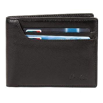 O-Let Carteras RFID para hombres, Cartera de cuero genuino, Cartera bifold, Cartera extraplana de viaje de capacidad extra con múltiples tarjetas: ...